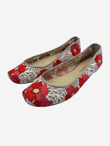 Red and white crochet square toe flats - size EU 40