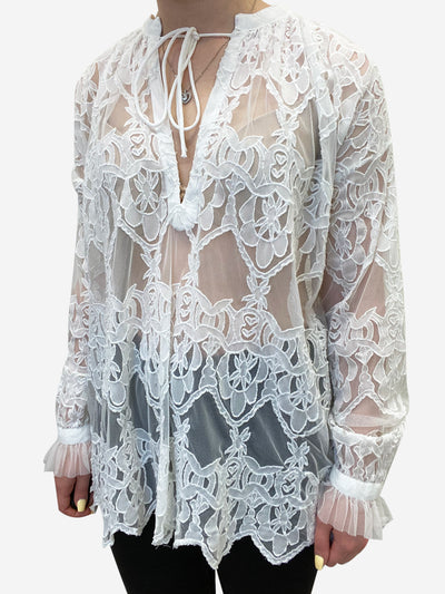 White lace v neck long sleeve top - size S
