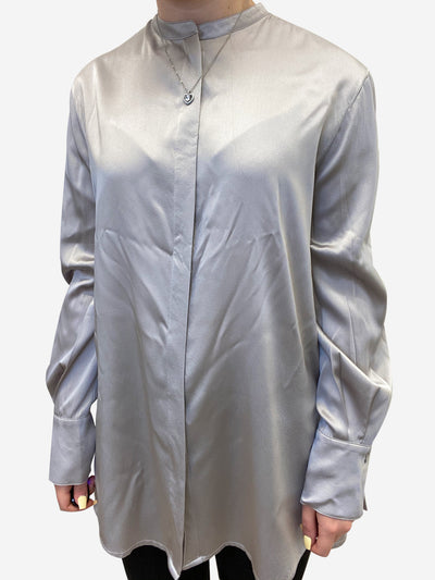 Grey long sleeve silk button down blouse - size UK 12