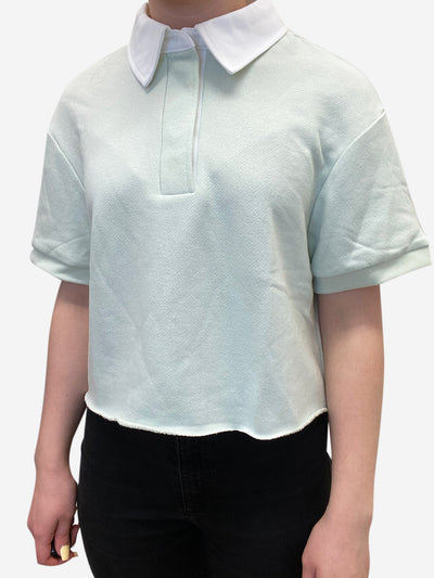 Green short sleeve cropped polo top - size L