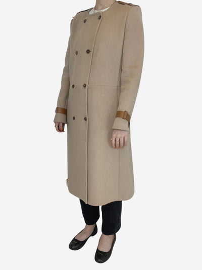 Camel wool collarless coat with brown leather detailing - size FR 40