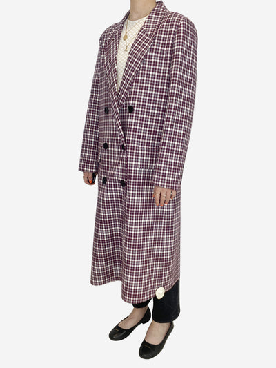 Purple and white checked double breasted coat - size 10