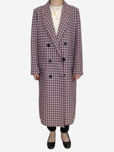 Load image into Gallery viewer, Purple and white checked double breasted coat - size 10
