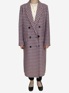 Burberry Purple & White Burberry Coats, 10