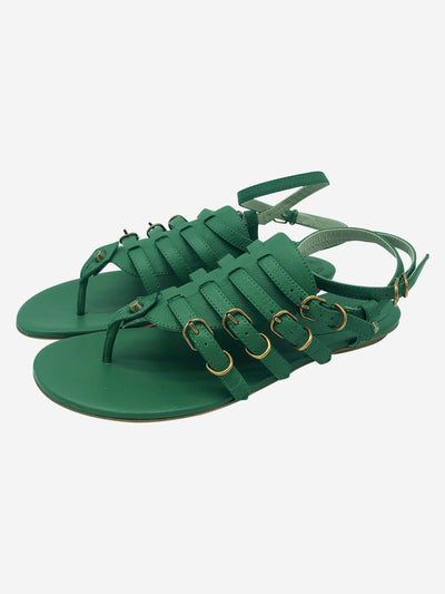 Green leather gladiator sandals - size EU 38