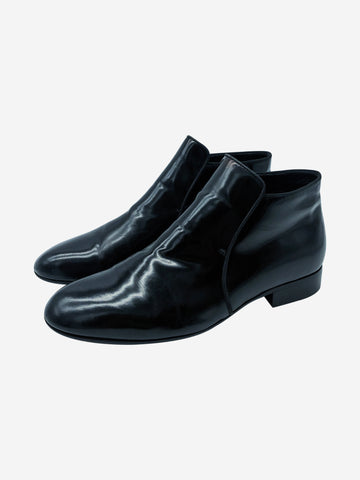 Black patent leather ankle boots - size EU 39