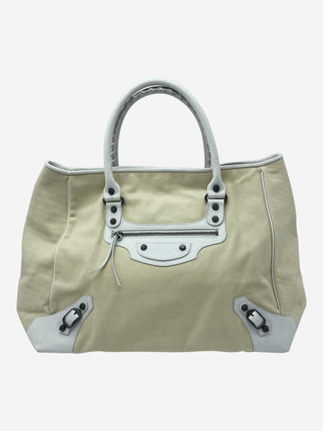 Cream & white large canvas weekend bag