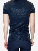 Load image into Gallery viewer, Black short sleeved sequin polo - size M