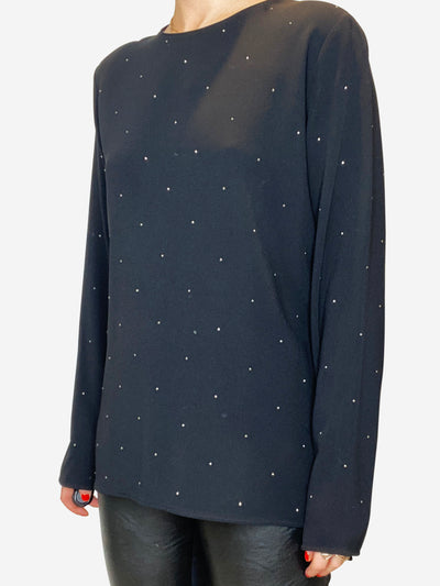 Black long sleeved blouse with silver dots - size 12