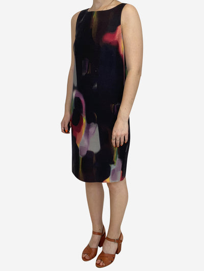 Brown and multicolour sleeveless shift dress - size IT 40
