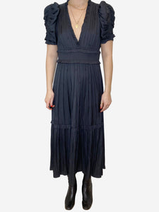 Black short sleeve tie waist dress - size US 6