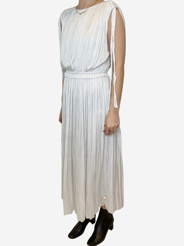 Off white Dove sleeveless pleated Alessa dress - US 4
