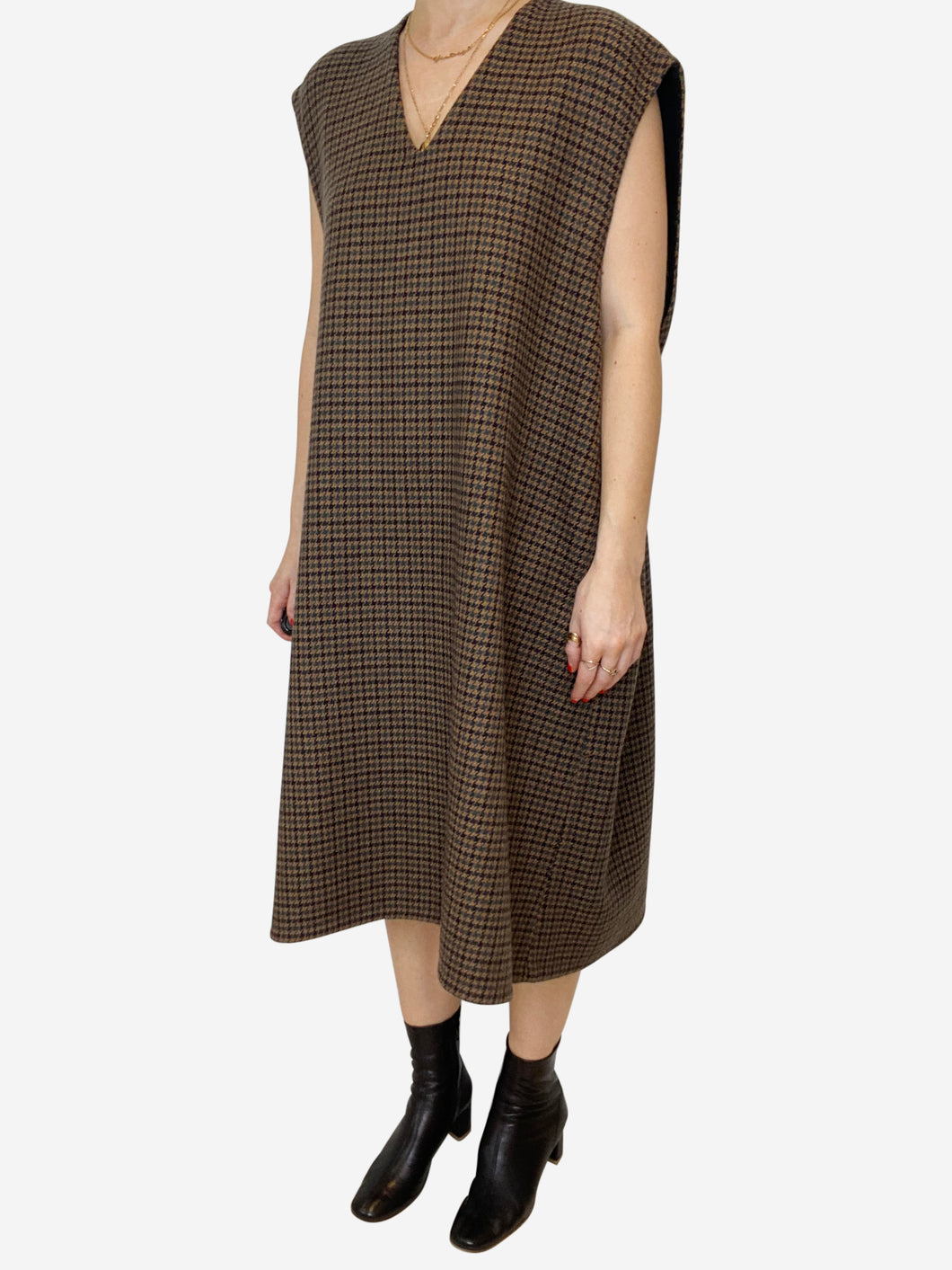 Brown wool oversized sleeveless dress - size FR 34