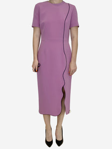 Pinky lilac midi scalloped hem dress - size UK 10