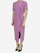 Load image into Gallery viewer, Pinky lilac midi scalloped hem dress - size UK 10