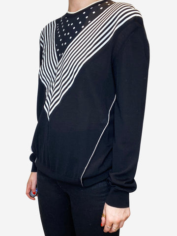 Black & white spot and stripe long sleeve top - size IT 42