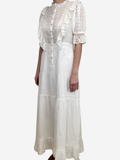 Cream broderie anglaise & lace maxi dress - size US 6