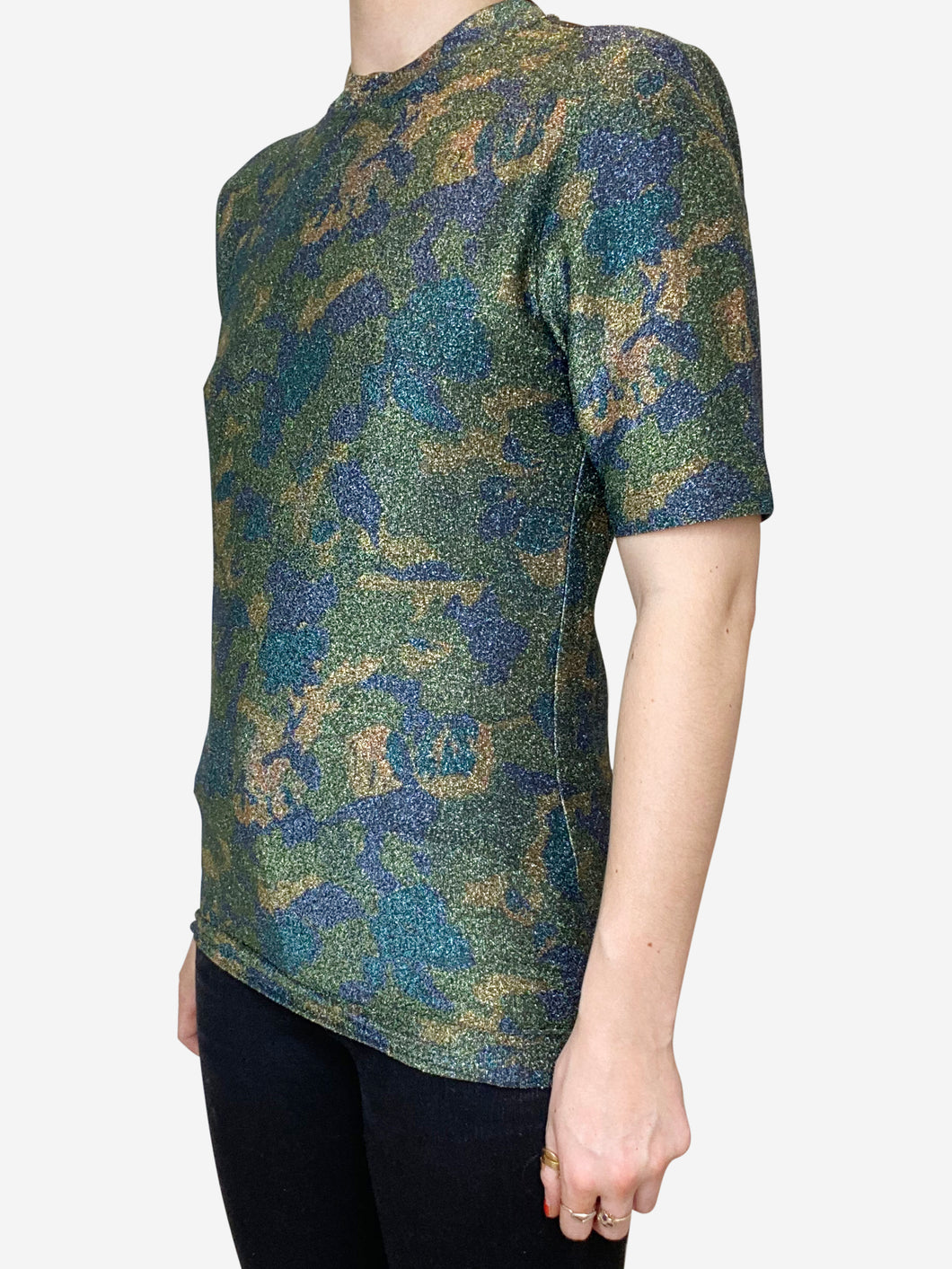 Metallic camo printed stretch jersey t-shirt - size UK 10