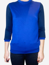 Load image into Gallery viewer, Royal blue and navy contrast sleeve sweater - size S