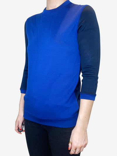 Royal blue and navy contrast sleeve sweater - size S