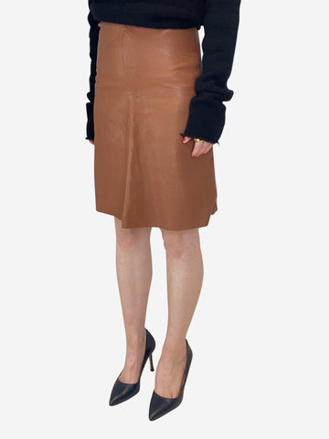 Brown leather a-line skirt - size FR 34