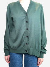 Load image into Gallery viewer, Green oversized asymmetric cardigan - size S