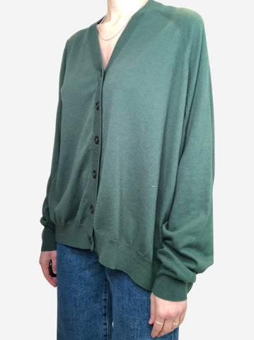 Green oversized asymmetric cardigan - size S