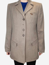 Load image into Gallery viewer, Brown wool blazer with leather accents - size FR 42