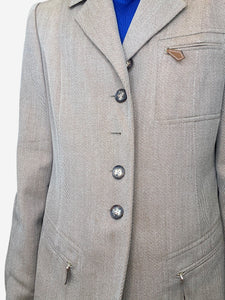 Brown wool blazer with leather accents - size FR 42