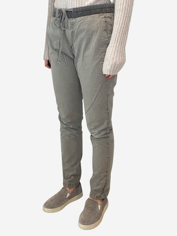 Grey drawstring waist casual cotton trousers - size S