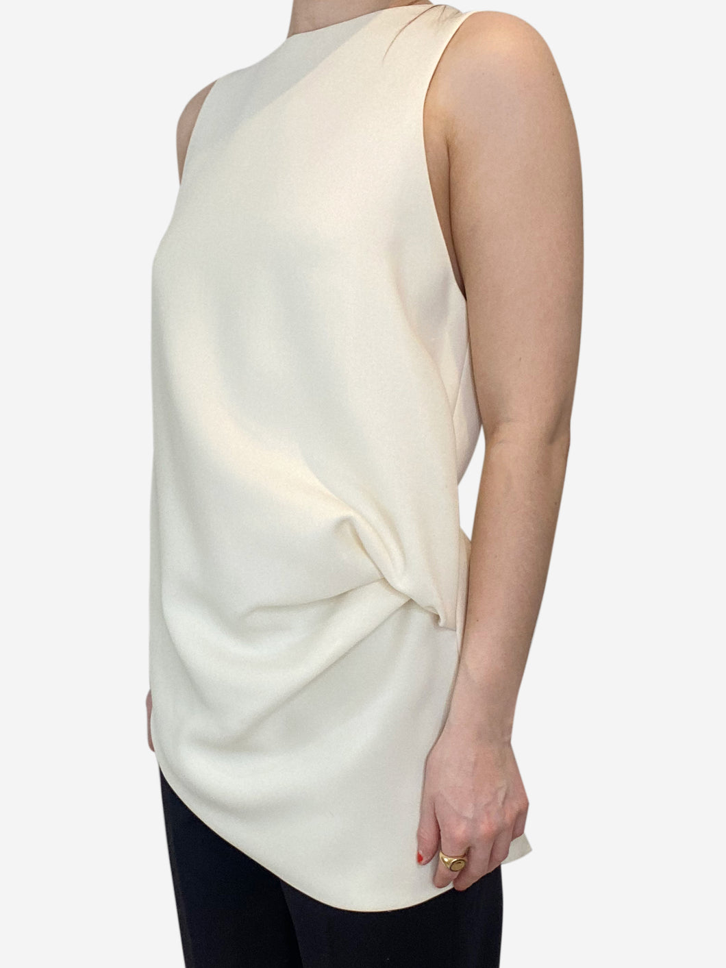 Cream sleeveless draped waist top - size UK 10