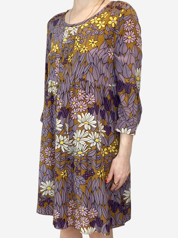 Purple & yellow floral print summer dress - size S