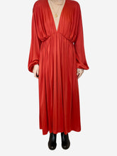 Load image into Gallery viewer, Red pleated v-neck maxi dress - size XS