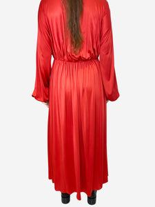 Red pleated v-neck maxi dress - size XS