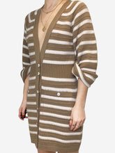 Load image into Gallery viewer, Beige & cream striped cashmere dress - size FR 38