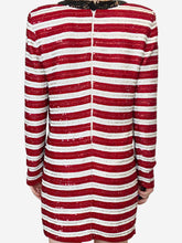 Load image into Gallery viewer, Red & white striped sequin v-neck mini dress - size FR 36