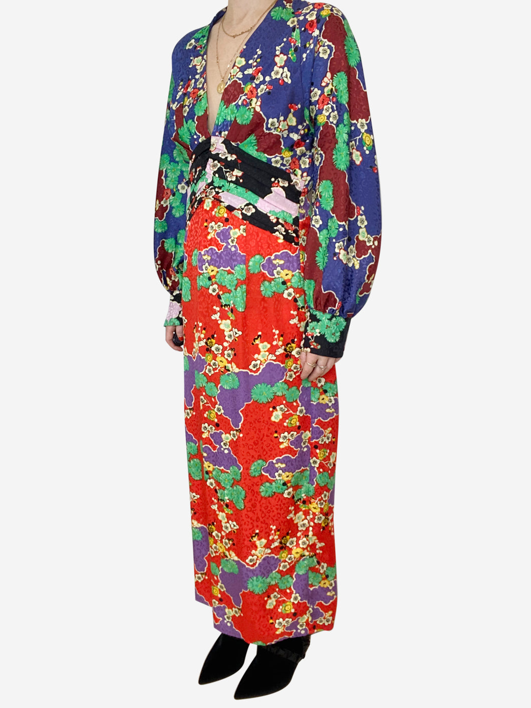 Fedora red, purple, green cherry blossom midi dress - size M