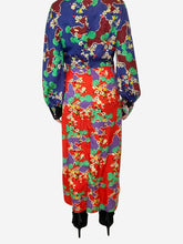 Load image into Gallery viewer, Fedora red, purple, green cherry blossom midi dress - size M
