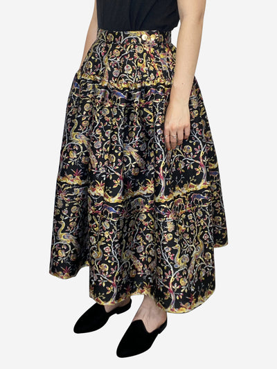 Birds of paradise floral black yellow and pink puffed brocade skirt - size 10