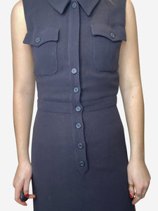 Chanel Navy sleeveless collared button up mini dress - size FR 38
