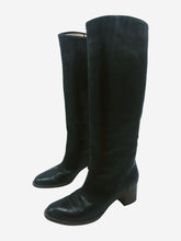 Load image into Gallery viewer, Black knee high boots with brown low heel - size EU 36