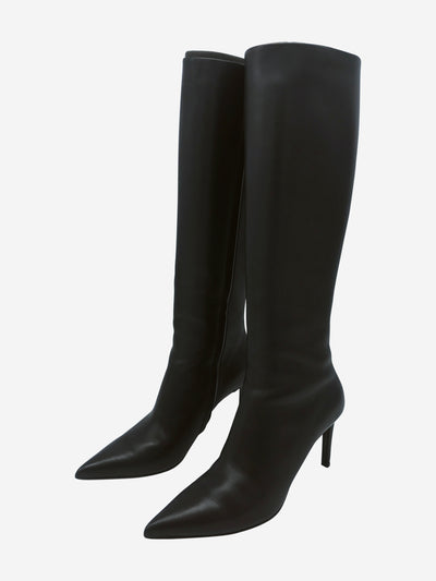 Black knee high pointed toe heeled boots - size EU 37.5