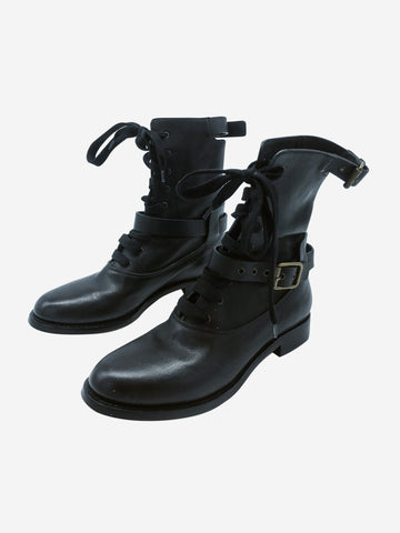 Black buckled leather combat boots - size EU 37