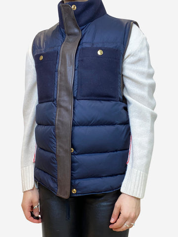 Navy patchwork gilet- size UK 8