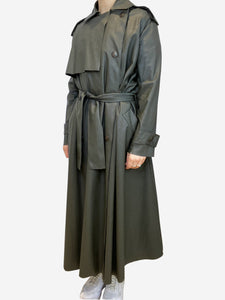 Lanvin Dark green faux leather trench coat- size UK 8