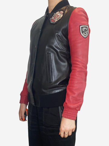 Black and red leather bomber jacket - size XS