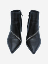 Load image into Gallery viewer, Black pointed toe zip detail heeled boots - size EU 38.5