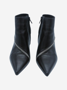 Saint Laurent Black pointed toe zip detail heeled boots - size EU 38.5