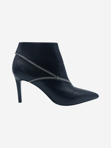 Black pointed toe zip detail heeled boots - size EU 38.5