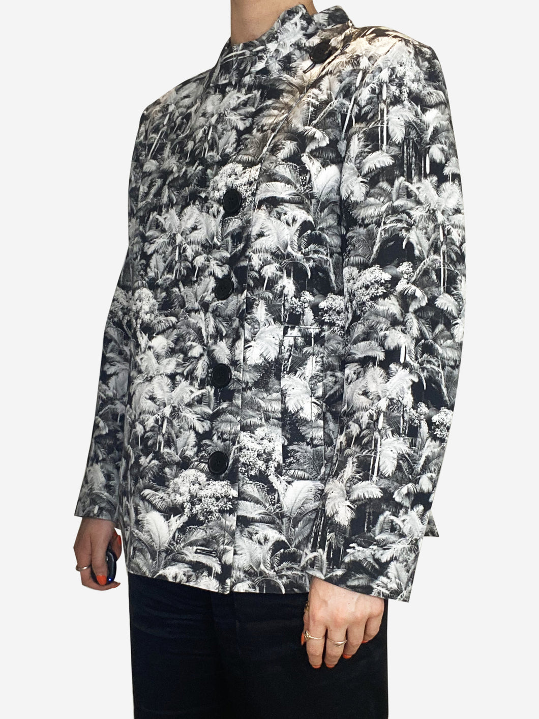 Grey jungle print short jacket - size FR 40